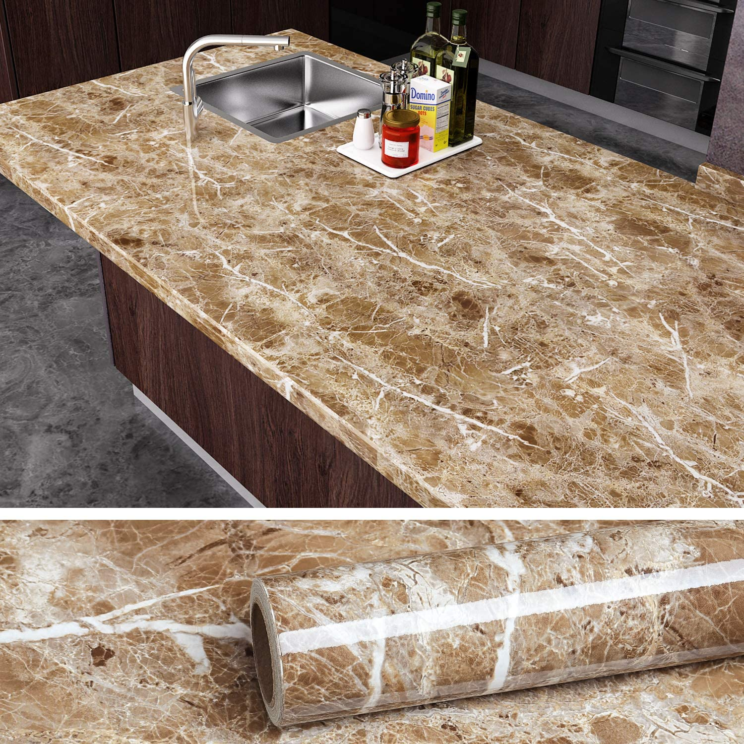"VEELIKE Brown Marble Contact Paper Peel and Stick Countertop Granite Wallpaper for Kitchen Cabinet Vinyl Waterproof Self Adhesive Removable Wall Paper Decorative for Home Decor 15.8""x118"""