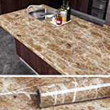 VEELIKE Brown Marble Contact Paper Peel and Stick Countertop Granite Wallpaper for Kitchen Cabinet Vinyl Waterproof Self…