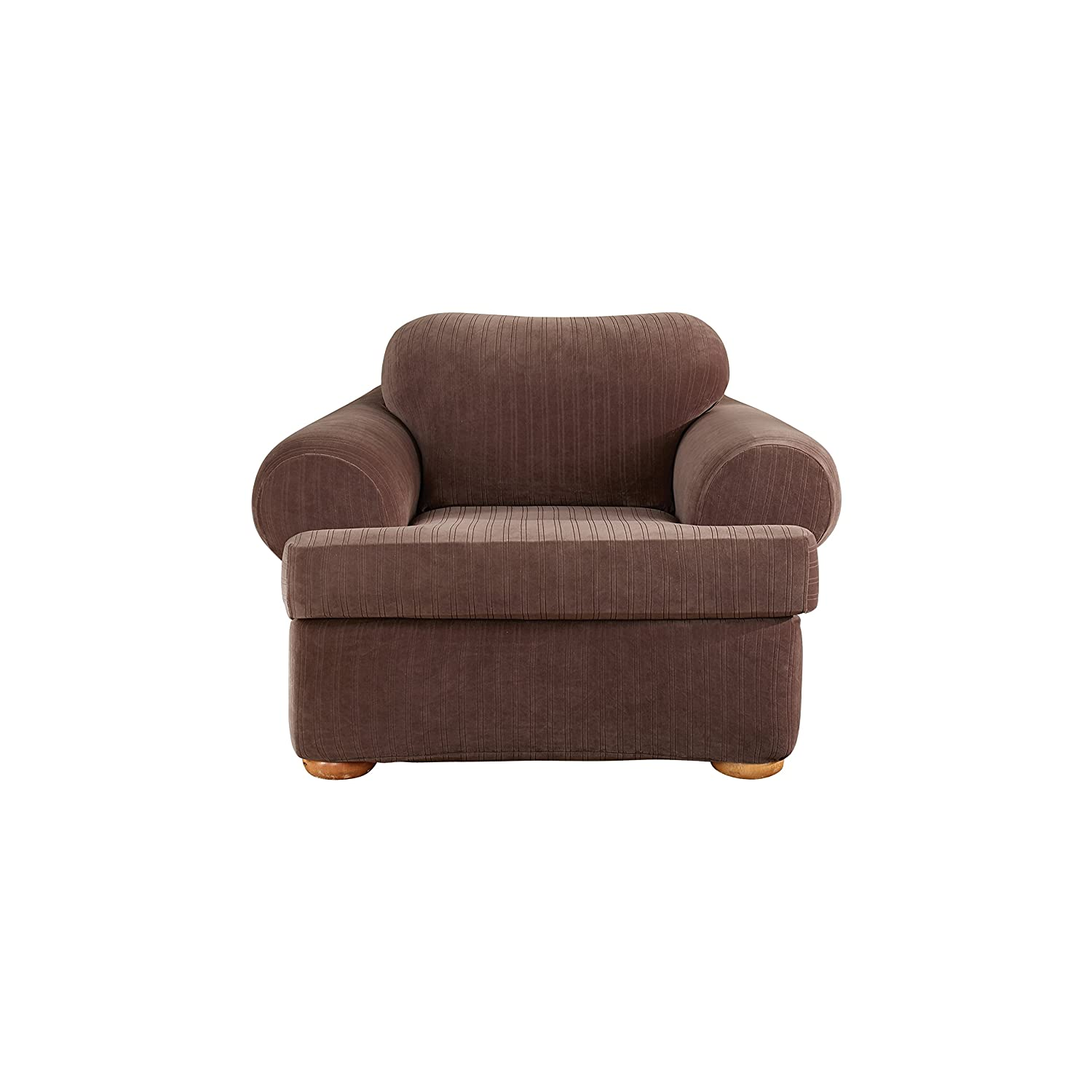 amazoncom sure fit stretch pinstripe 2piece sofa slipcover taupe sf35825 home u0026 kitchen