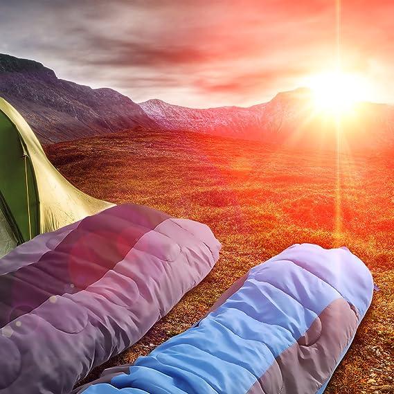 SONGMICS Saco de Dormir Momia para Adultos Relleno de Fibra sintética para Acampada Senderismo con Bolsa de compresión 220 x 84 cm GSB02GB: Amazon.es: ...