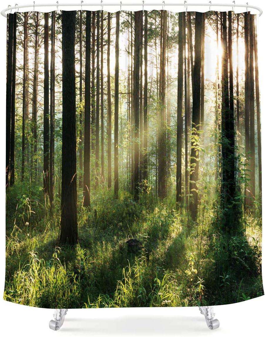 LIGHTINHOME Nature Forest Shower Curtain Bright Sunshine Tree Green Leaves Fresh Grass Landscape Woodland Scene Floral Fabric Waterproof Bathroom Home Decor Set 72x72 Inch 12 Plastic Hooks