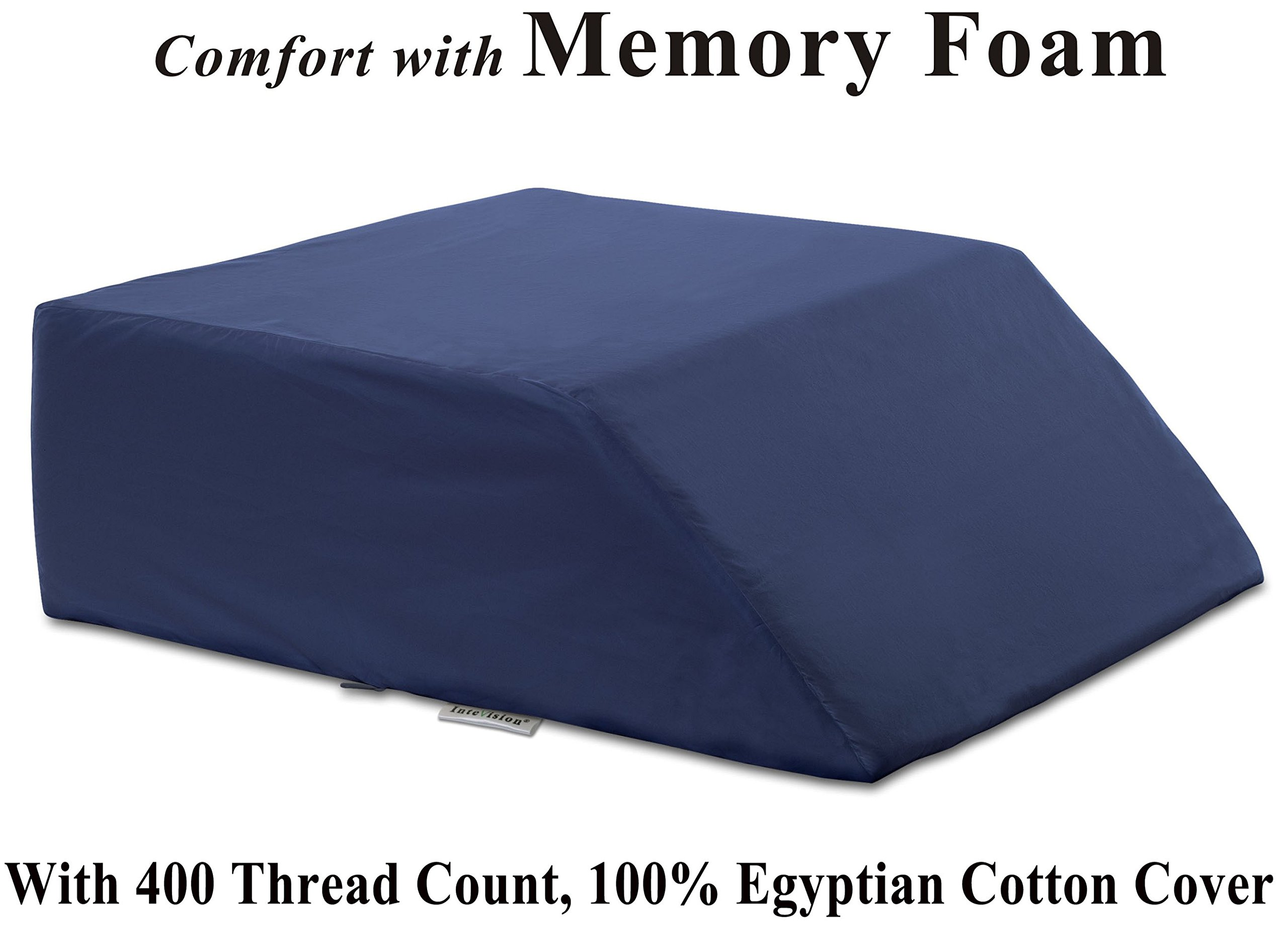 InteVision Ortho Bed Wedge Pillow (8'' x 21'' x 24'') with, 400 Thread Count, Egyptian Cotton Cover