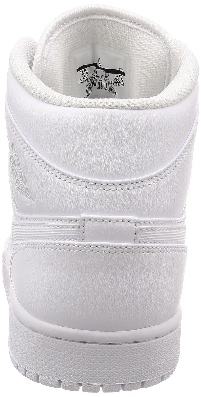 official photos 05887 fa256 Jordan Air 1 Mid, Baskets Homme, Blanc Pure Platinum-White 104, 44.5 EU   Amazon.fr  Chaussures et Sacs