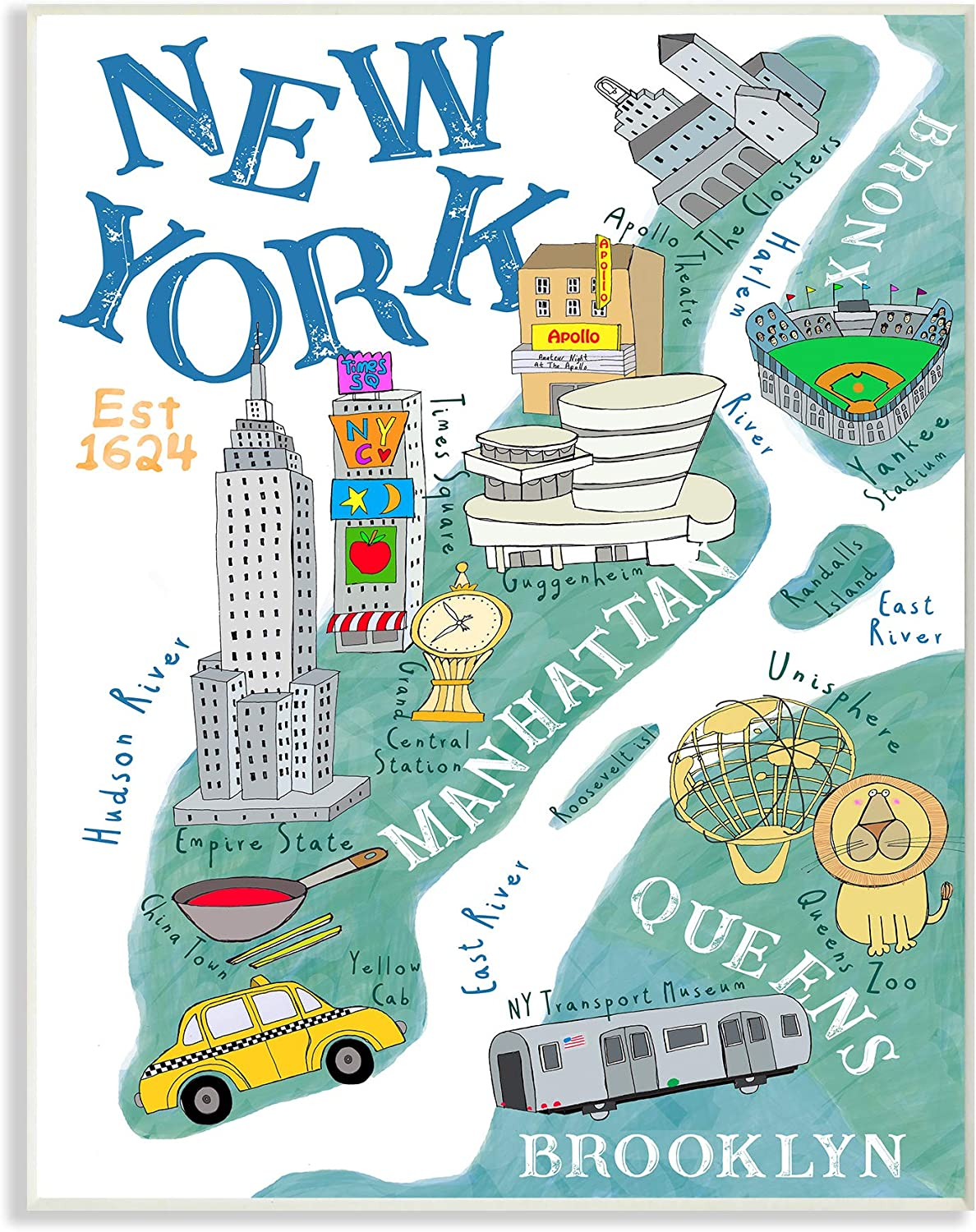 Stupell Industries New York Landmarks and Taxis Illustrated Map Wall Plaque, 10 x 15, Multi-Color