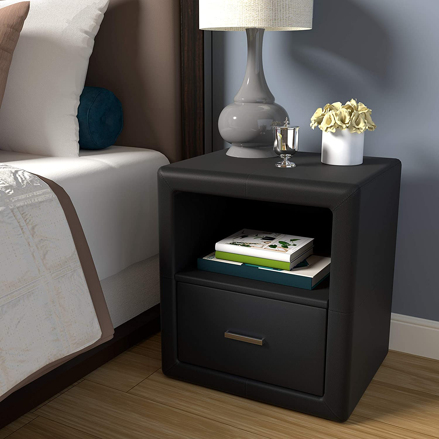 Boyd Sleep Contemporary Bedroom Furniture: Lombardi Upholstered Nightstand with Single Drawer and Open Shelf, Faux Leather, Black