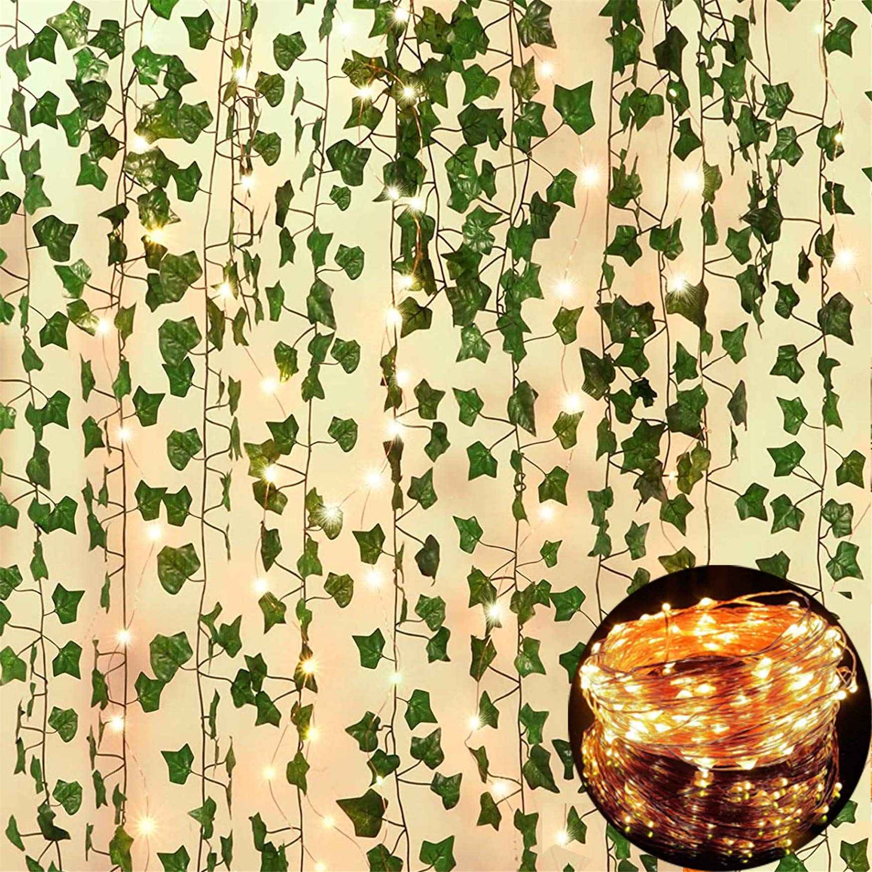 12 Pack Fake Vines for Room Decor with 100 LED String Light Artificial Ivy Garland Hanging Plants Faux Greenery Leaves Bedroom Aesthetic Decor for Home Garden Wall Wedding