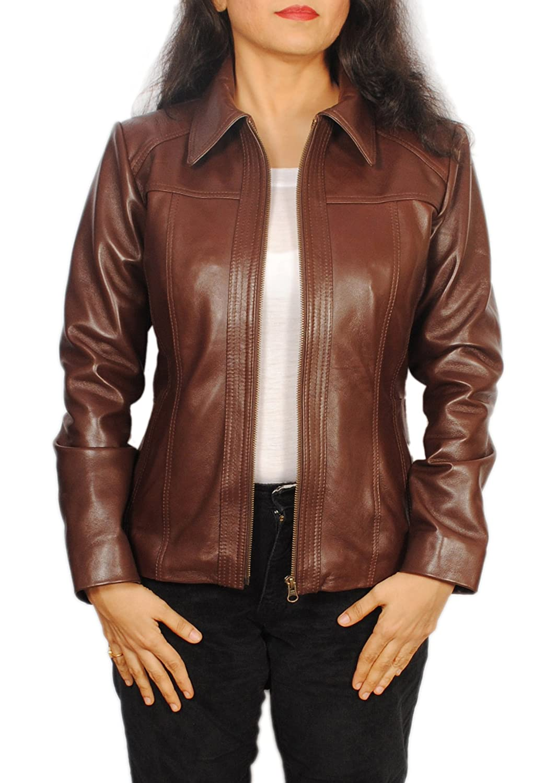 Women's Lambskin Leather Short Peacoat Jacket