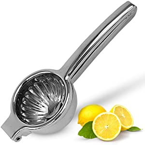Lemon Squeezer Stainless Steel with Premium Quality Heavy Duty Solid Metal Squeezer Bowl - Large Manual Citrus Press Juicer and Lime Squeezer Stainless Steel