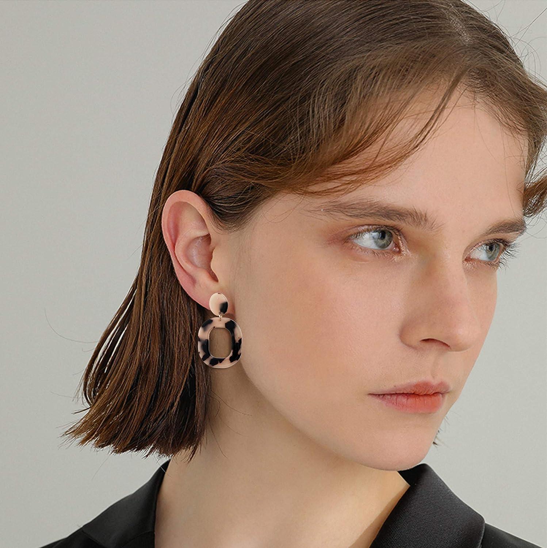 YADOCA 8 Pairs Acrylic Rattan Earrings for Women Bohemian Straw Wicker Woven Drop Dangle Earrings Statement Resin Acetate Mottled Hoop Earrings Jewelry Set