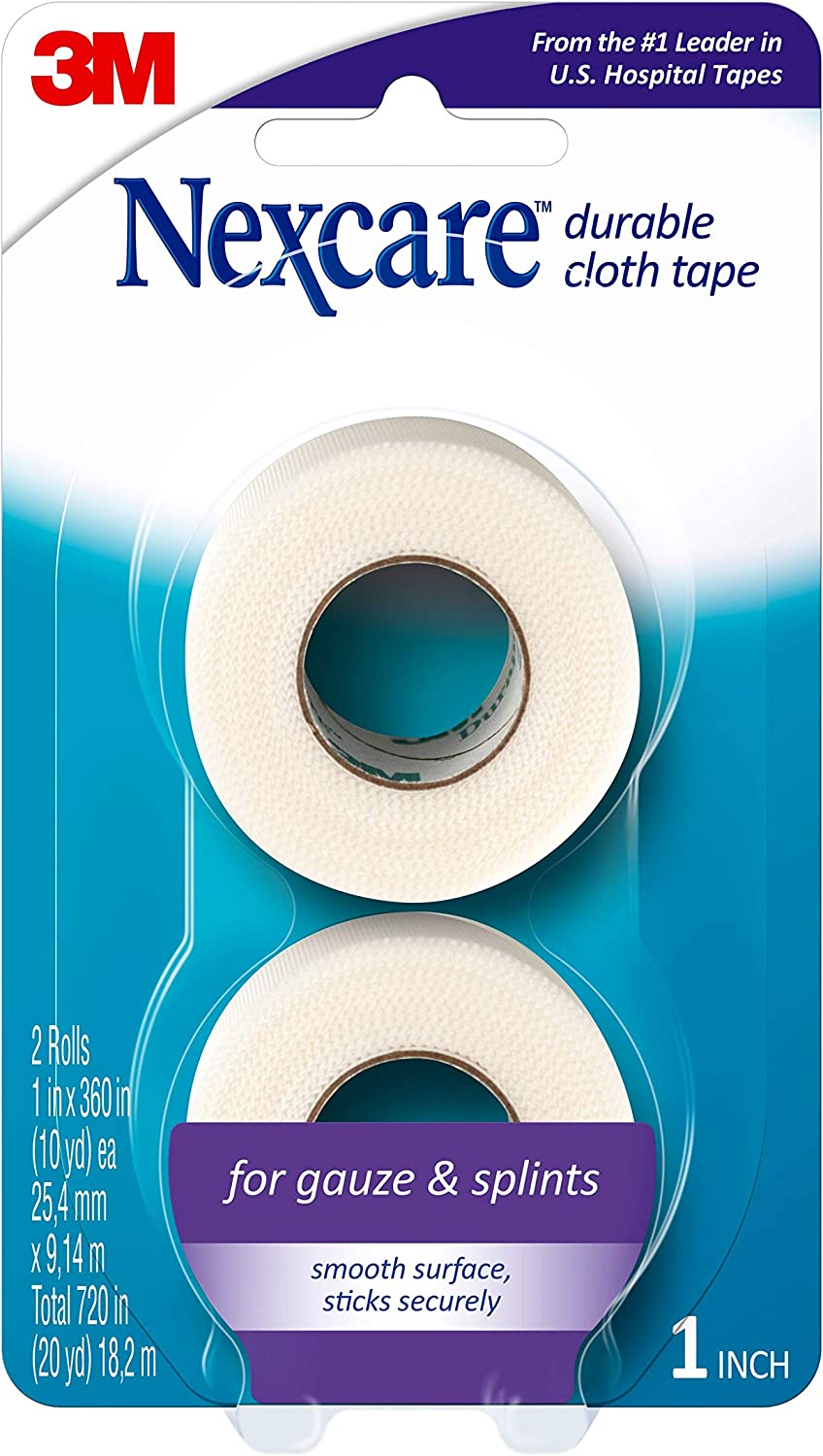 Nexcare Durable Cloth First Aid Tape, Tears Easily, For Securing Splints and Bulky Dressings, 2 Rolls: Health & Personal Care