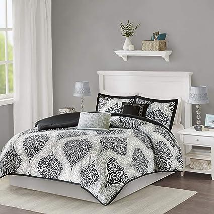 Hemau Senna Comforter Set Twin/Twin XL Size - Black/Gray, Damask – 4 Piece  Bed Sets – All Season Ultra Soft Microfiber Teen Bedding - Great for Dorm  ...