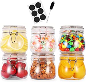 17oz Airtight Glass Canister,6 Pack Food Storage Jar Round with Lids - Storage Container with Clear Preserving Seal Wire Clip Fastening for Kitchen Canning Cereal,Pasta,Sugar,Beans,Spice