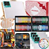 MEEDEN 48Pcs Acrylic Painting Set with Solid Beech Wood Table Easel, Paint Tubes, Stretched Canvas, Painting Brushes, Pad and Panels, Wood Palette, Color Mixing Wheel, Great Student Artist Starter Set