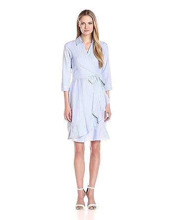 7c111a7c528b Ivanka Trump Women's Stripped Cotton Wrap Dress, Blue/White 2 at ...