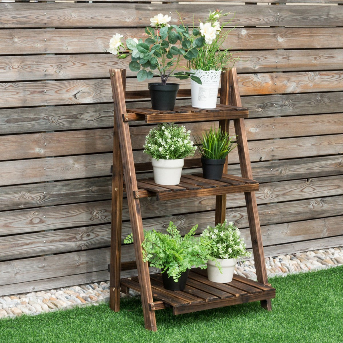 Giantex 3 Tier Folding Wooden Plant Stand with Pot Shelf Stand Display Rack for Indoor Outdoor Garden Greenhouse, 24'' x 15'' x 37'' by Giantex
