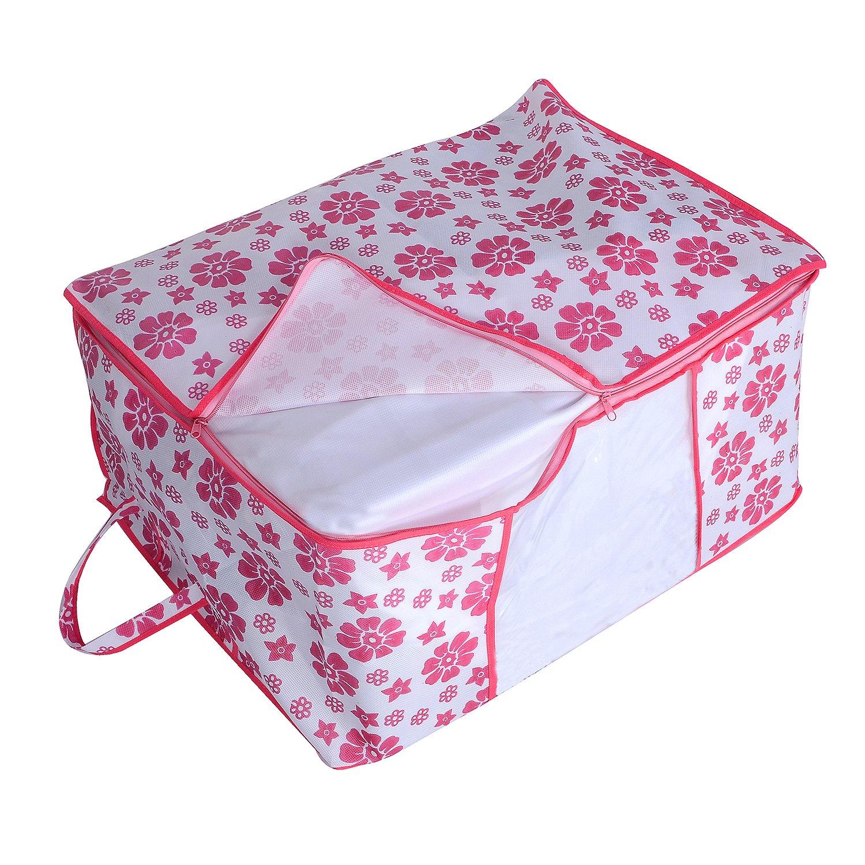 Kuber Industries Underbed Storage Bag,Storage Organiser,Blanket Cover Set of 4 Pcs Pink Flower Design Extra Large Size