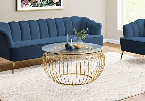 Monarch Specialties Round Cocktail Accent Metal Curved Wire Base