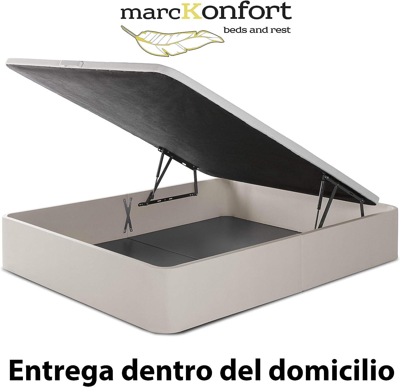marckonfort Canapé abatible Space 135X190 tapizado con Piel sintética Color Piedra, Gran Capacidad 36 cm Altura Total y 29 cm Altura Interna
