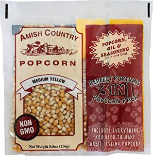 product image for Amish Country Popcorn | (24) 4 Ounce Popcorn Portion Packs of Medium Yellow Popcorn, Oil & Salt | Old Fashioned with Recipe Guide