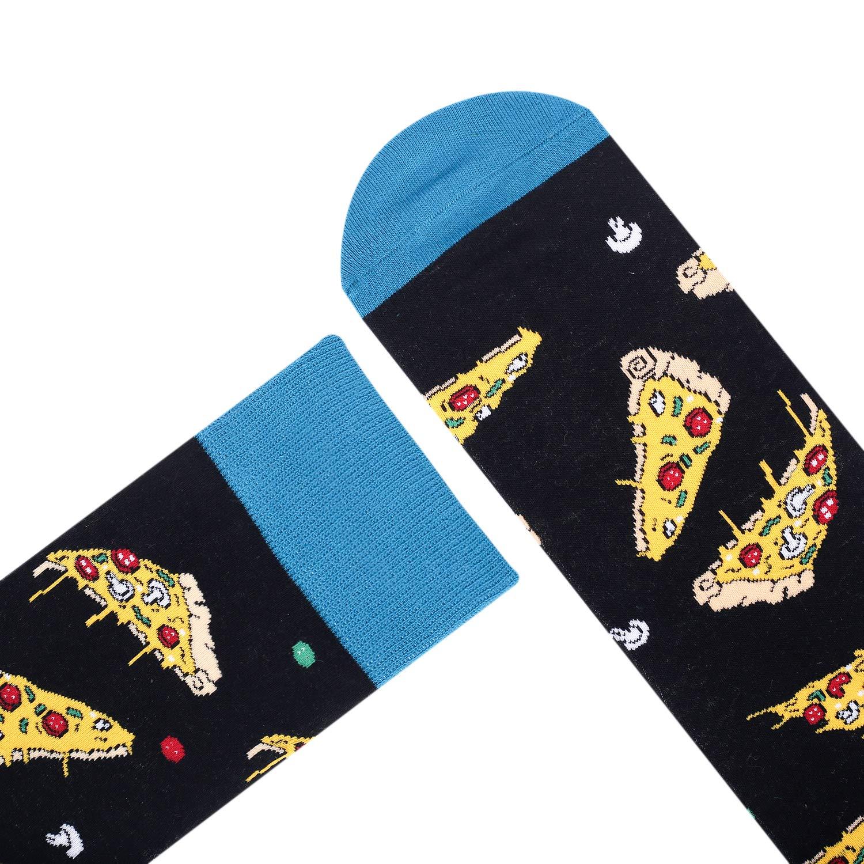 Mens Funny Novelty Crew Socks Crazy Pineapple Avocado Pizza Food Fruit Casual Dress Socks (Pizza)