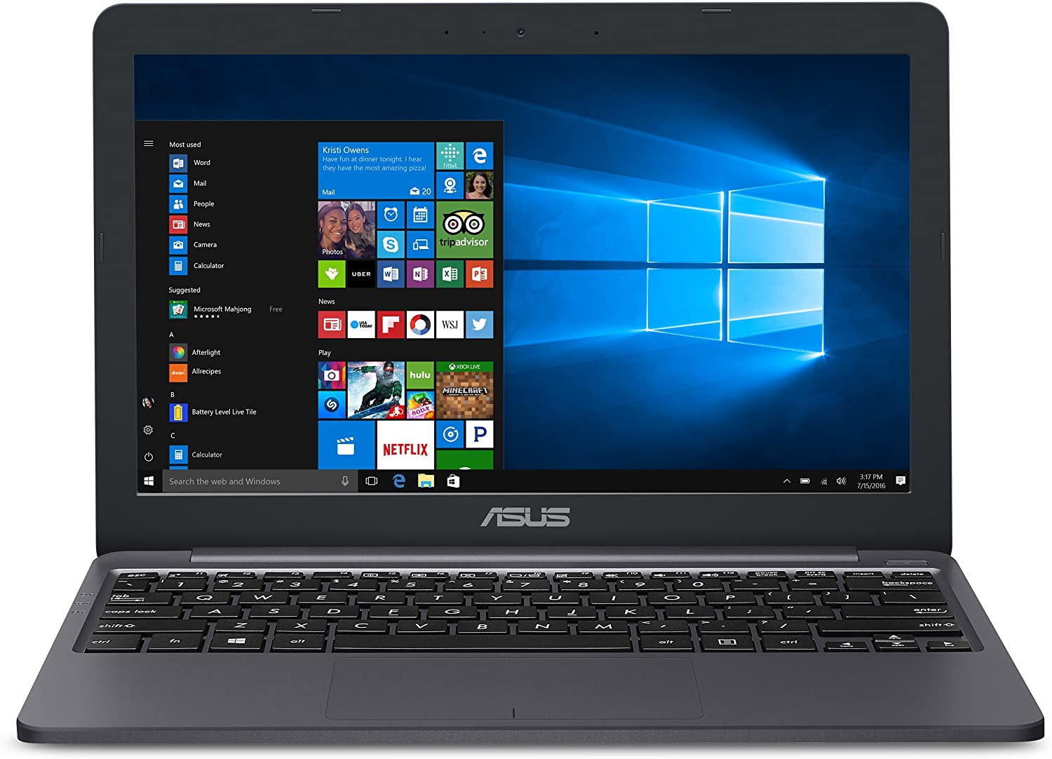 """ASUS L203MA-DS04 VivoBook L203MA Laptop, 11.6"""" HD Display, Intel Celeron Dual Core CPU, 4GB RAM, 64GB Storage, USB-C, Windows 10 Home In S Mode, Up To 10 Hours Battery Life, One Year Of Microsoft 365: Computers & Accessories"""
