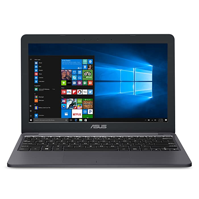 "ASUS VivoBook L203MA Ultra-Thin Laptop, Intel Celeron N4000 Processor, 4GB RAM, 64GB eMMC storage, 11.6"" HD, USB-C, Wi-Fi 5, Windows 10, L203MA-DS04, One Year of Microsoft Office 365"