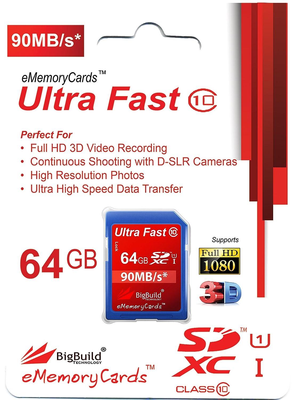 BigBuild Technology 64GB Ultra Fast 90MB//s Scheda di Memoria per Canon Digitale IXUS 185 Fotocamera Classe 10 SD SDXC