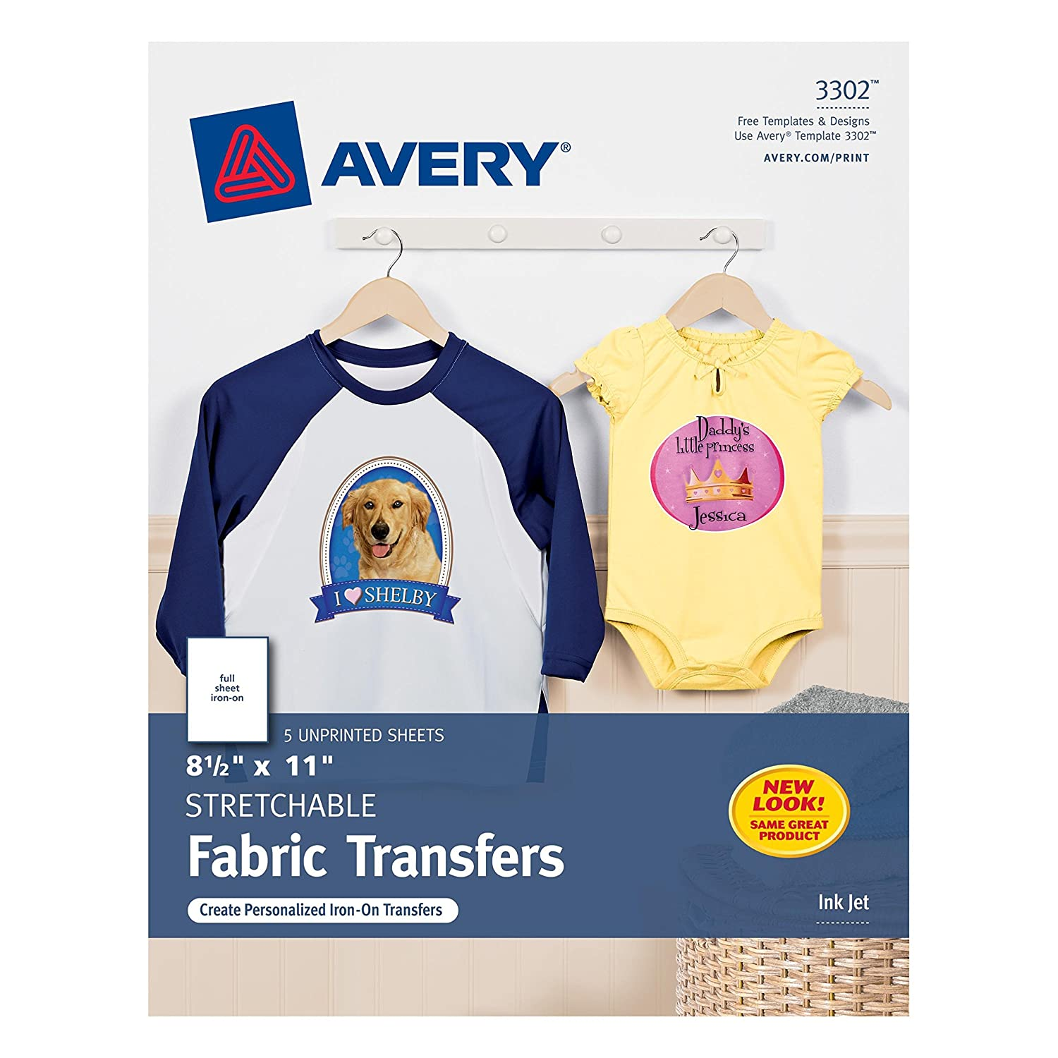 Design t shirt transfer template - Amazon Com Avery Inkjet Stretchable Transfer Sheets 5 Pack 03302 Fabric Iron On Transfers Office Products
