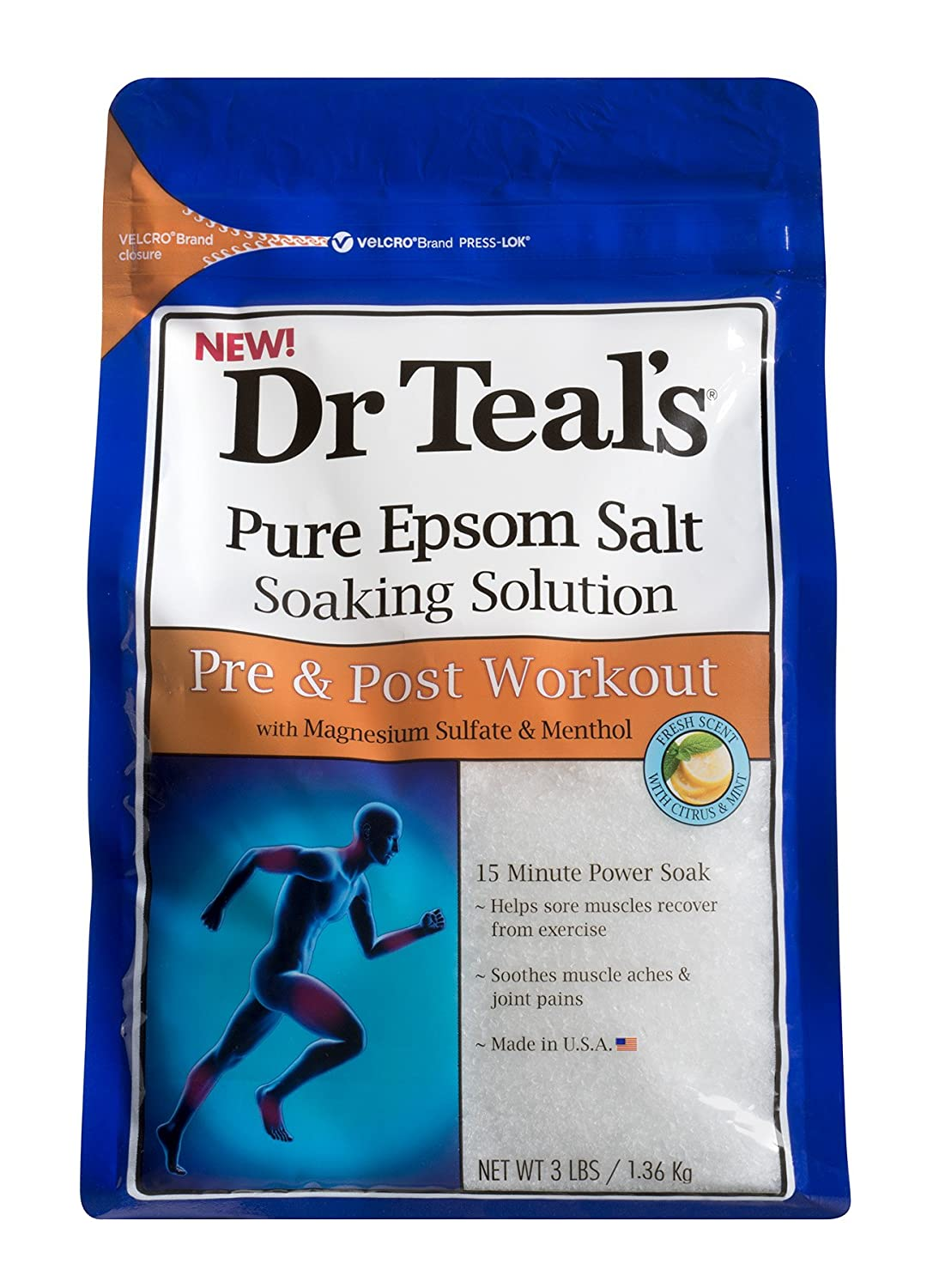 Dr Teal's Pure Epsom Salt Soaking Solution for Pre and Post Workout with Magnesium Sulfate & Menthol, 1.36 kg 04364-4PK