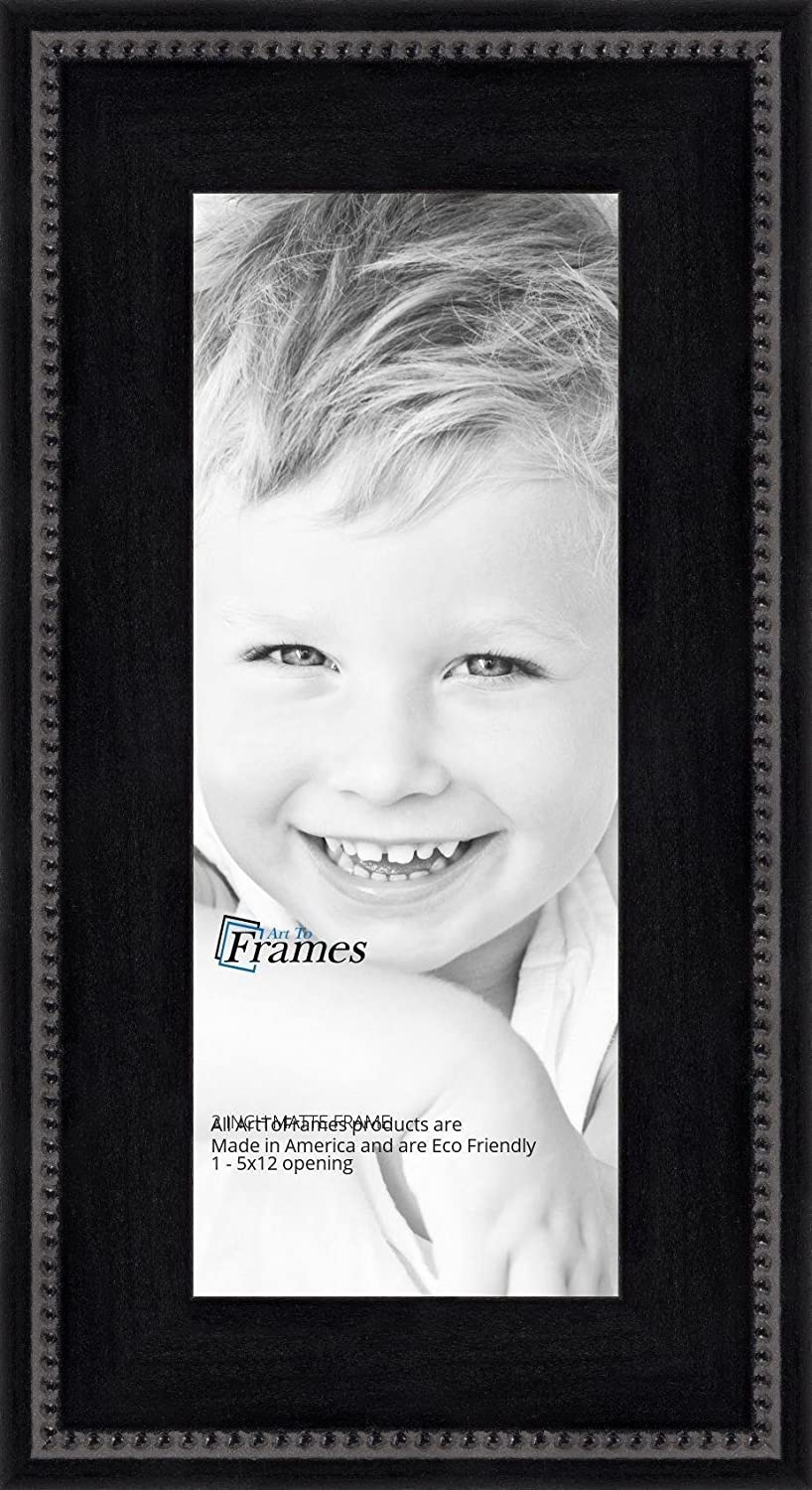 ArtToFrames 16x34 inch Matte Black Slope with Beaded Top Wood Picture Frame 2WOMM469520-16x34