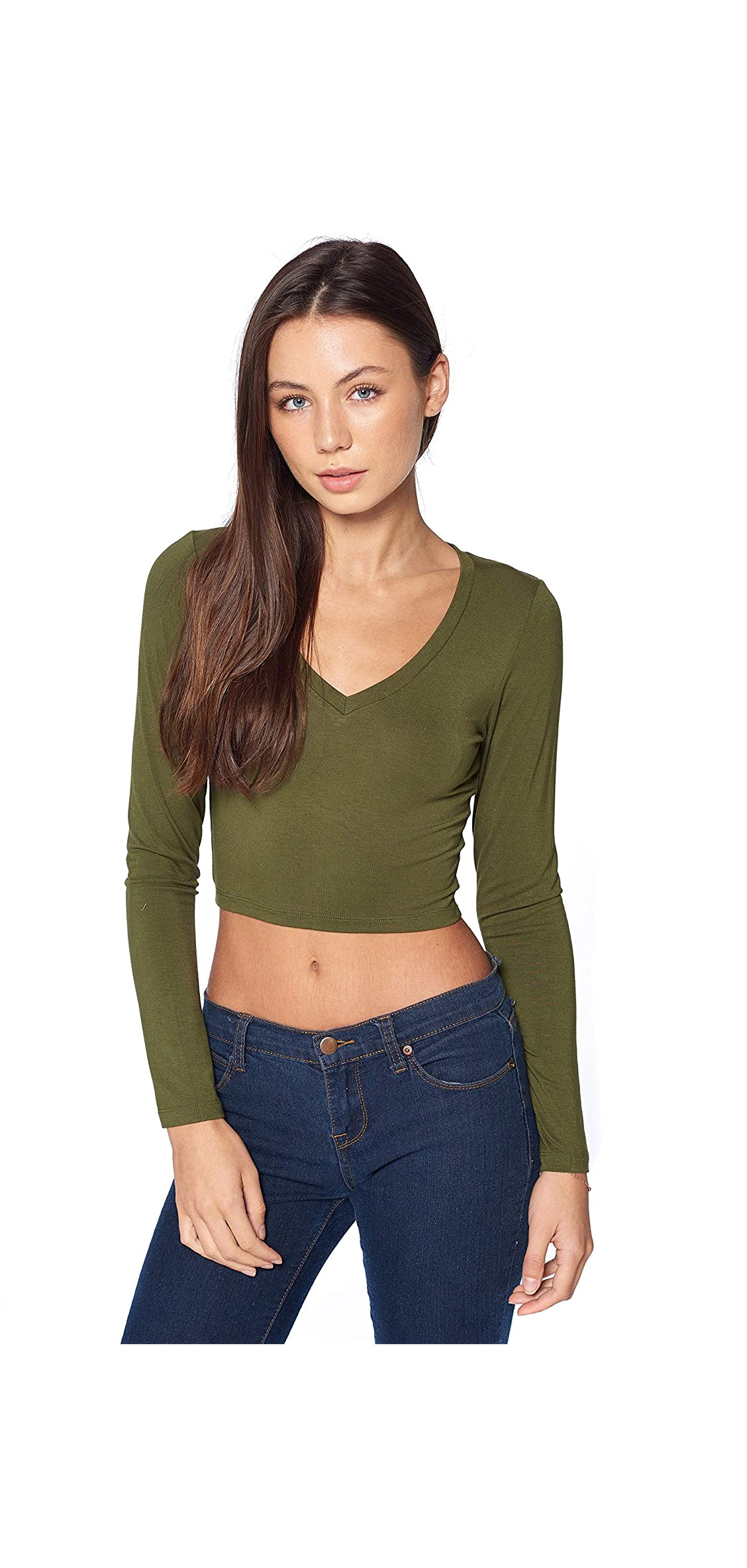 Women's Basic Long Sleeves V Neck Fitted Crop Top T