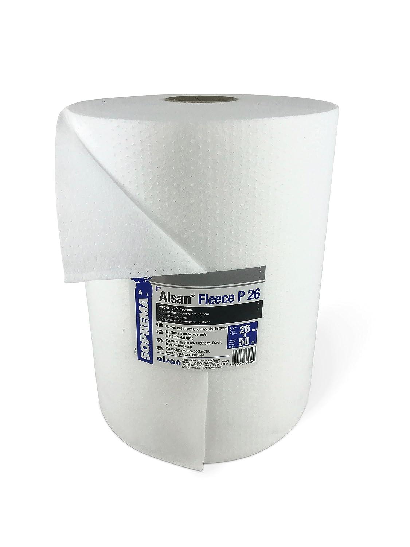 1 Rolle ALSAN PMMA VLIES 0, 25 x 50, 0 Meter | perforiertes und mechanisch verfestigtes Spezialkunstfaservlies mit 110, 0 g/m² Flächengewicht - zur Verarbeitung mit ALSAN PMMA Flüssigkunststoff SOPREMA GmbH