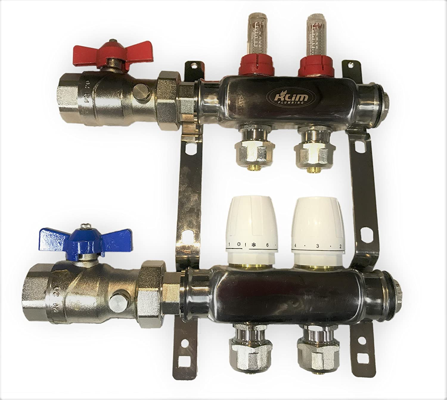 "2 LOOP/BRANCH 1/2"" PEX MANIFOLD WITH BALL VALVE STAINLESS STEEL RADIANT HEATING"