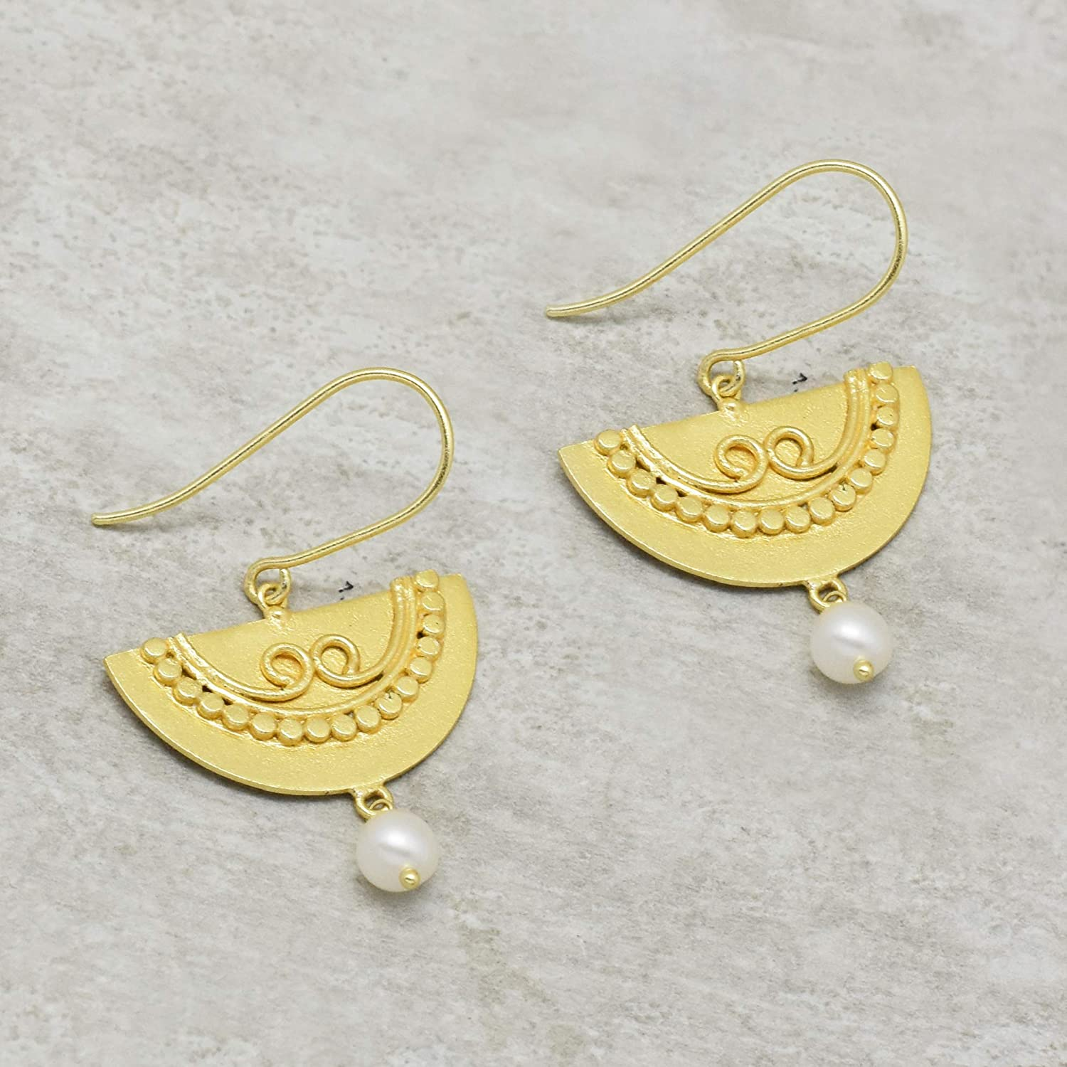 The V Collection earrings 22k gold plated handcrafted pearl dangling earrings for women and girls