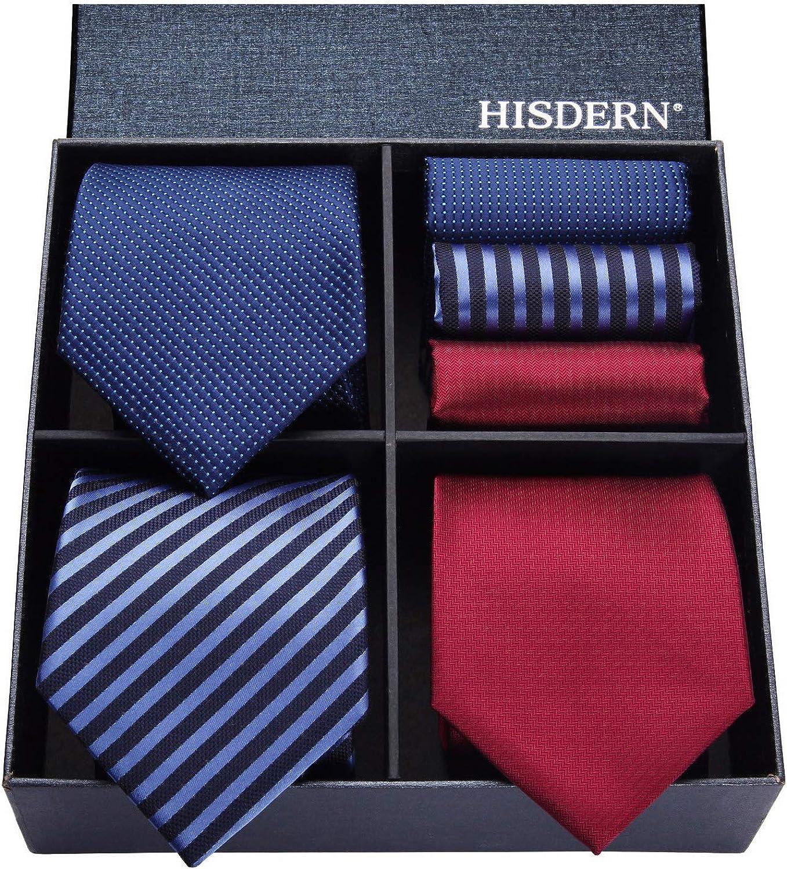 HISDERN Lot 3 PCS Corbata de hombre Compruebe Polka Dot Stripe Color Solido Corbata del panuelo del banquete de boda & Pocket Square -Conjuntos multiples
