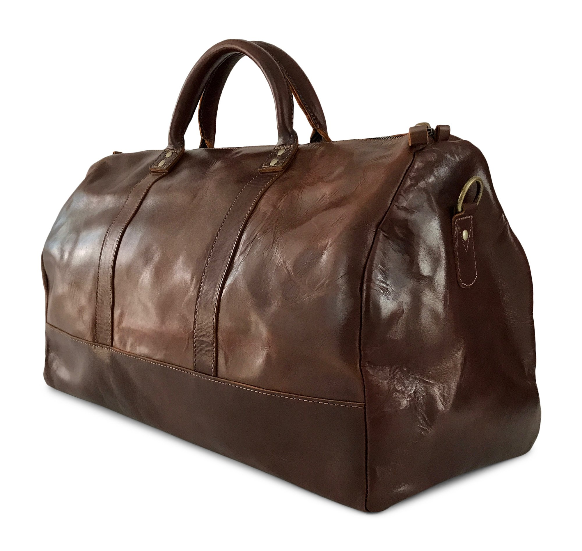 Vintage Full Grain Leather Duffle Bag & Weekend Carryall by Jackson Wayne (Vintage Brown) by Jackson Wayne (Image #4)