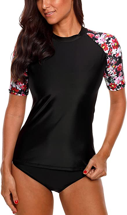 MILIMIEYIK Womens Rash Guard Tops Long Sleeve Bathing Suits Printed UV Sun Protection Swim Shirt