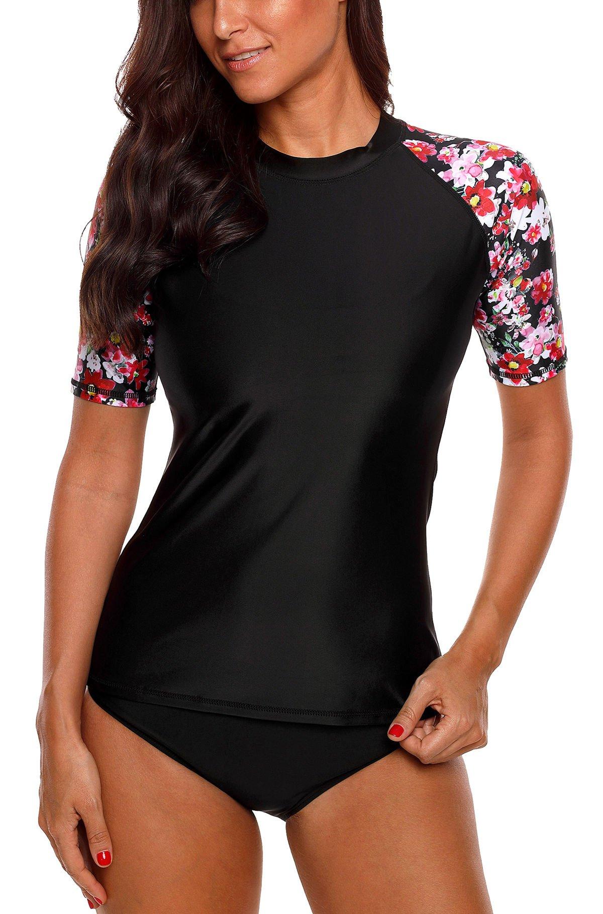beautyin Sun Protection Rash Guard for Women Short Sleeve Surf Shirt Swimming Top by beautyin