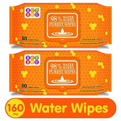 e5e3ab666fb Buy Bey Bee Hypoallergenic Baby Water Wipes for New Born Babies Sensitive  Skin, 80 Wipes (Pack of 2) Online at Low Prices in India - Amazon.in
