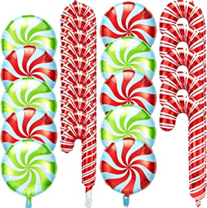 35 Pieces Christmas Candy Foil Balloons Includes 15 Pieces Candy Cane Foil Balloon, 20 Pieces Swirl Candy Foil Balloons in Red White Green Sweet Candies Theme Balloons for Christmas Home Party Decor
