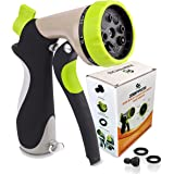 Zibpros Garden Hose Nozzle Spray Nozzle, Heavy Duty 8 Adjustable Watering Pattern - Metal Water Nozzle with 2 Washers & 1 Quick Connector, for Spraying Plants, Cleaning, Car Wash and Showering Pets