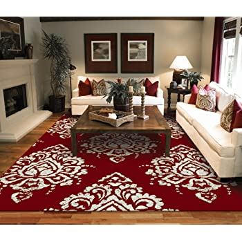 Luxury Large 8x11 Contemporary Rugs Red Ivory Cream Modern 8x10 Cheap