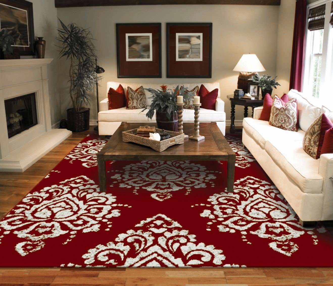 Fabulous Amazon.com: New Modern Rugs For Living Room Red & Cream Flower  RW76