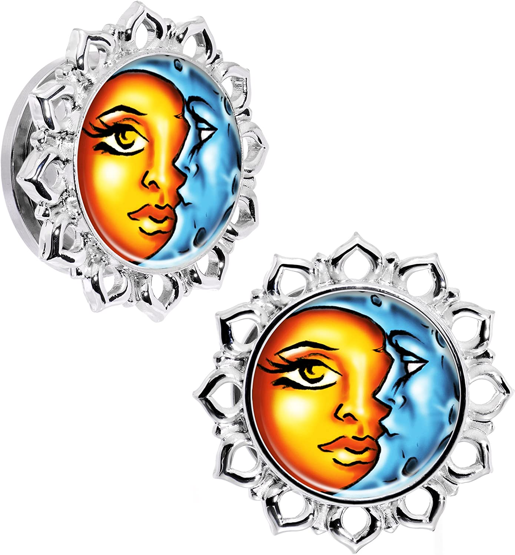 Body Candy Steel Orange Blue Celestial Sun and Moon Flower Frame Screw Fit Ear Gauge Plug Set of 2 5mm to 20mm