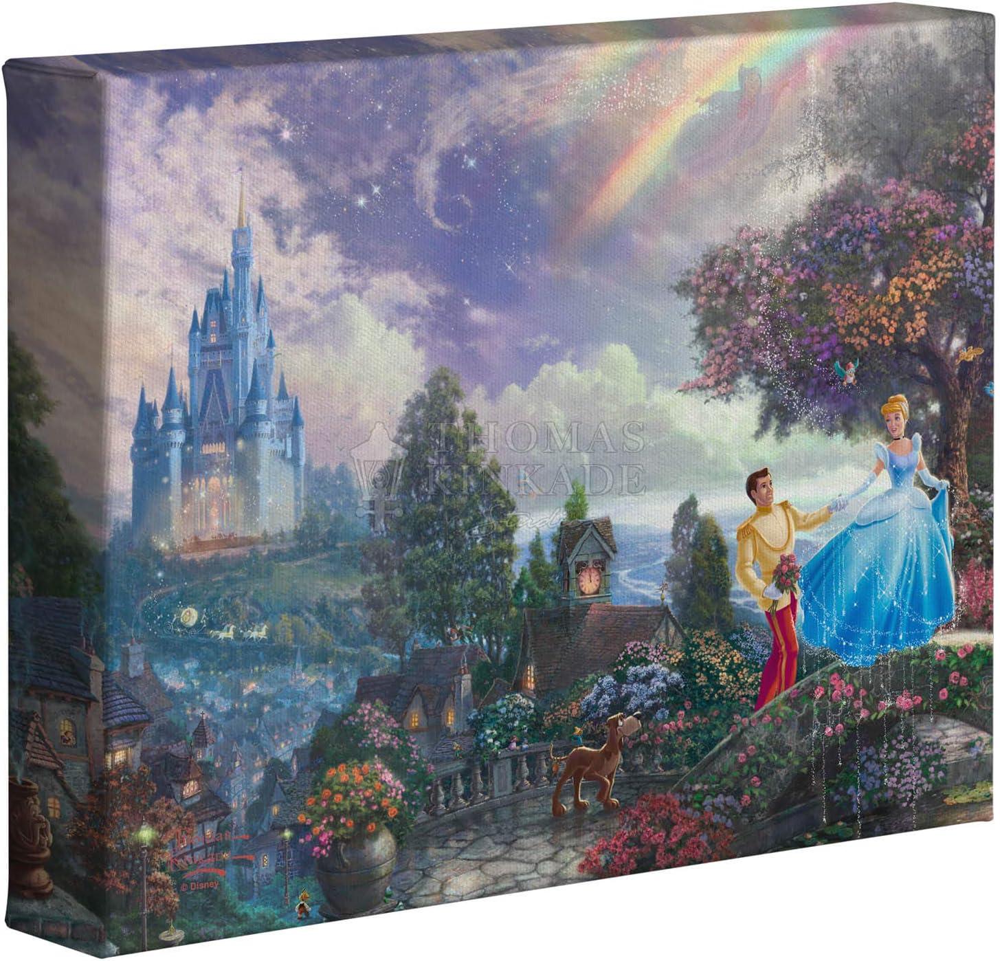 Thomas Kinkade Disney Cinderella Wishes Upon A Dream 8 x 10 Gallery Wrapped Canvas