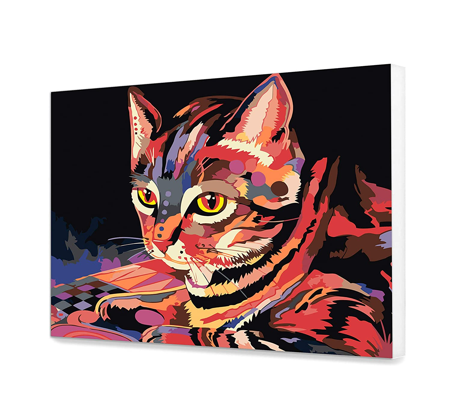 Cat Painting On Canvas Colorful Paint By Your Own DIY Kit Oil Pop Art Wall Art Decoration Animal Portrait Paint By Numbers For Adults Beautiful Acrylic