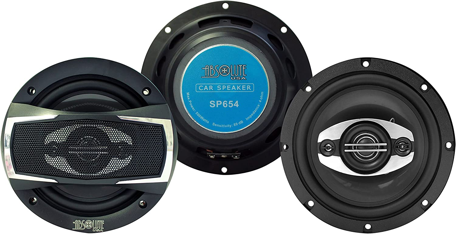 Absolute USA 2 X SP654 Series 6.5 4 Way Car Speakers 500 Watts Max Power