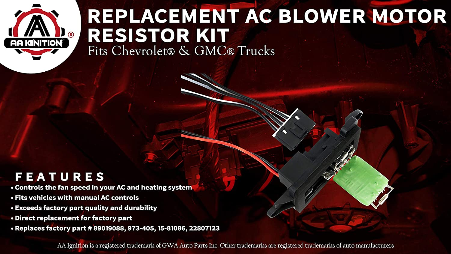 Ac Blower Motor Resistor Kit With Harness Replaces Chevy Truck Heater Wiring 89019088 973 405 15 81086 22807123 Fits Silverado Tahoe Suburban Avalanche