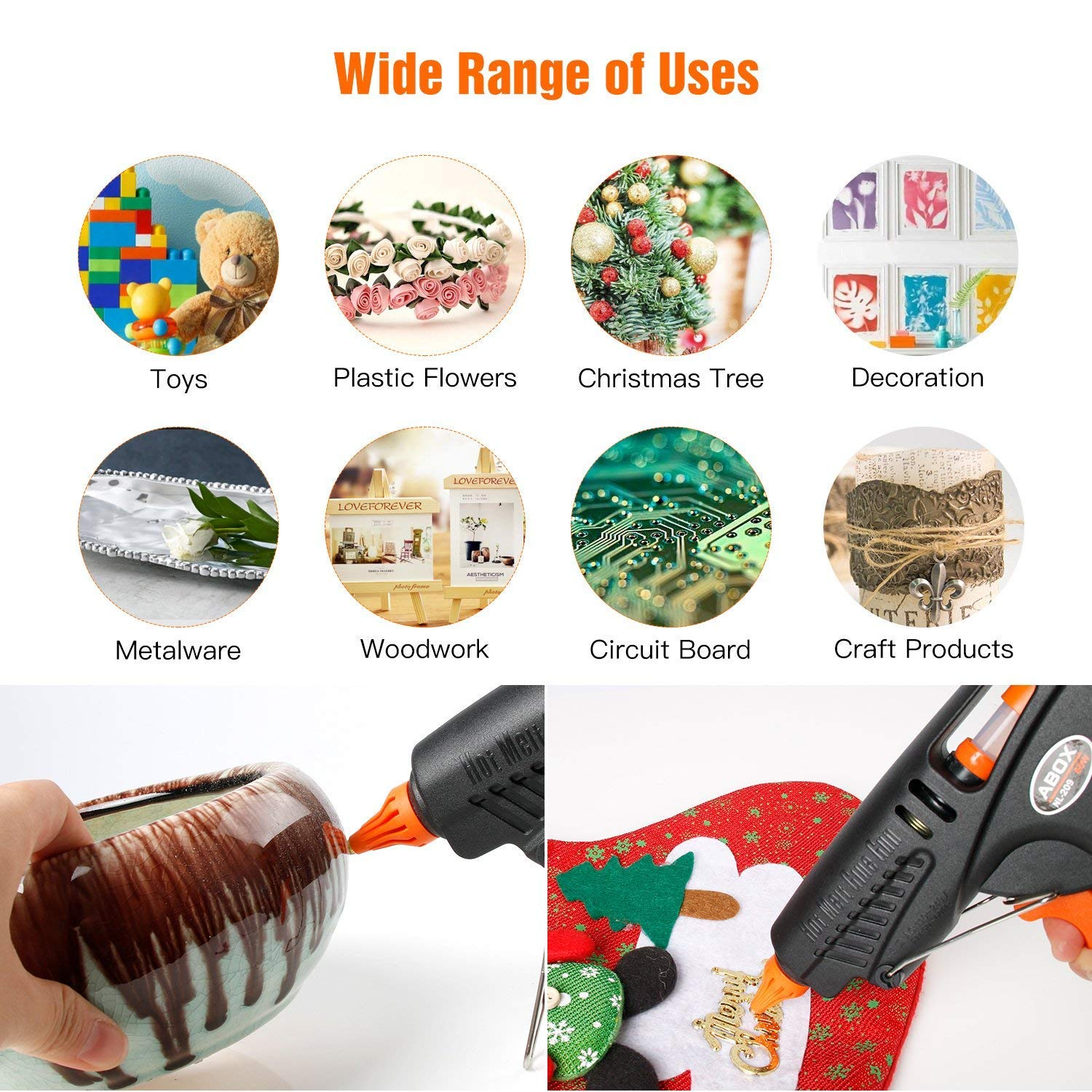 Hot Glue Gun, ABOX 60W Thermostat Hot Melt Glue Gun, Rapid Preheating with PTC Heating Technology,15 Pcs Premium Glue Sticks,Copper Nozzle and ON-Off Switch, DIY Arts &Crafts Projects, Quick Repairs by GooBang Doo (Image #5)