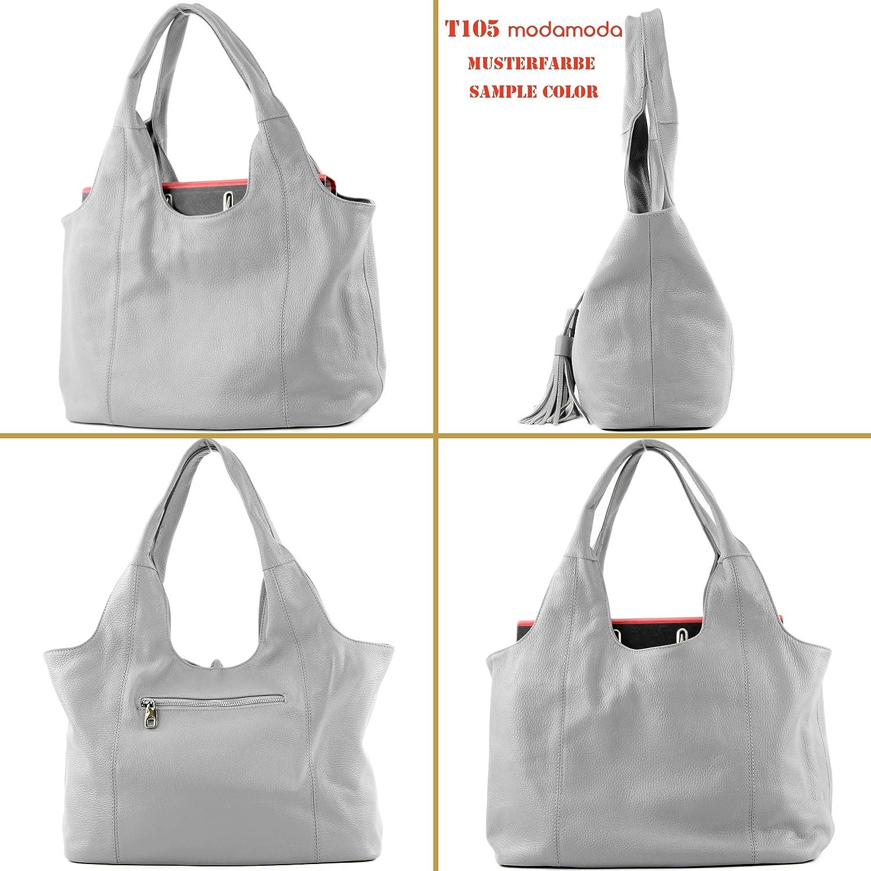modamoda de - Italiani in pelle sacchetto della maniglia A4 / camoscio T105 Oliva